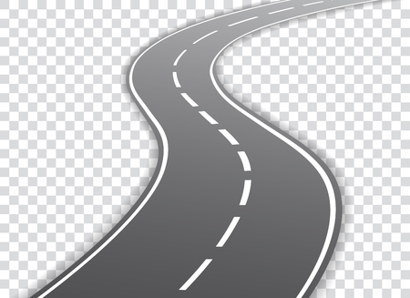 Illustration pour Vector winding road isolated on transparent background. Vector illustration. - image libre de droit