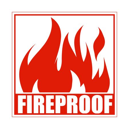 Illustration pour Fireproof square icon, design, sign, red label with blazing flame. - image libre de droit