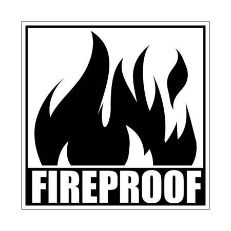 Illustration pour Fireproof square icon, logo design, sign, black label with blazing flame. - image libre de droit