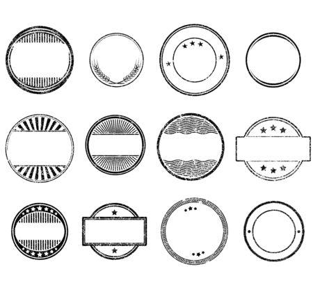 Illustration pour Set of circle grunge rubber stamps templates - image libre de droit