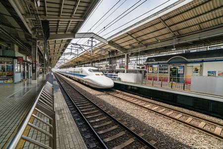 Osaka, Japan - Circa MAy 2016 - Shinkansen train in the Shin-Osaka station