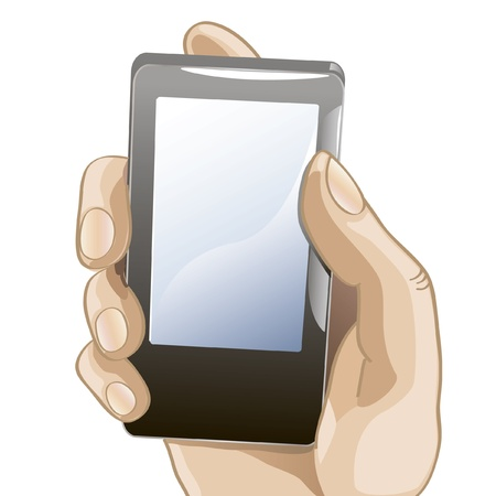 vector illustration of hand with mobile phone