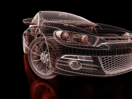 Photo for 3d car model on  a black background. - Royalty Free Image