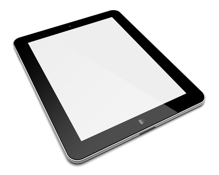 Abstract tablet PC with blank screen  Isolated on a white  3d image