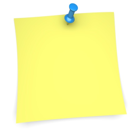 Yellow paper note with blue pushpin  3d image