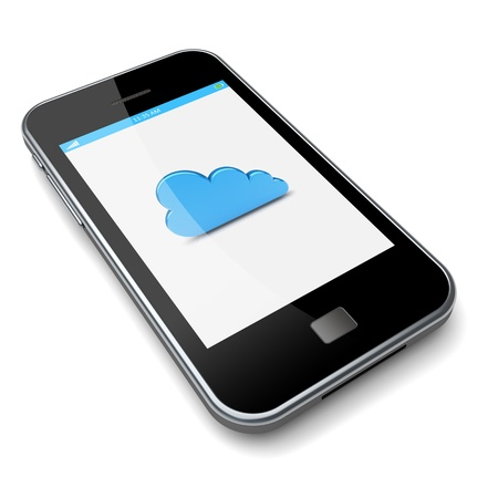Smartphone with cloud computing symbol on a screen  3d image