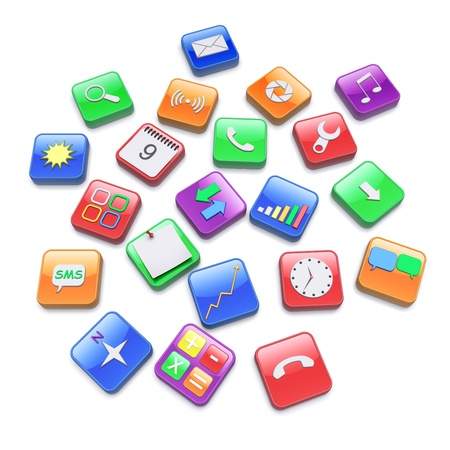 Software apps icons  3d rendered image