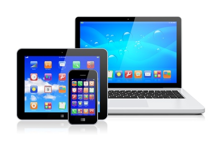 Foto de Laptop, tablet pc computer and mobile smartphone with a blue background and colorful apps on a screen  Isolated on a white  3d image 	 - Imagen libre de derechos