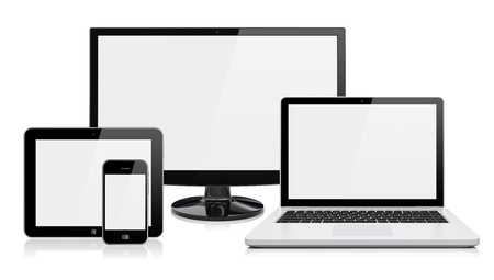 Foto de Computer monitor, laptop, tablet pc,  and mobile smartphone with a blank screen  Isolated on a white  3d image 	 - Imagen libre de derechos