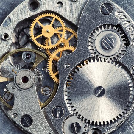 Metal gears of old clock mechanism
