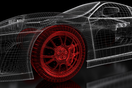 Photo pour Car vehicle 3d blueprint mesh model with a red wheel tire on a black background. 3d rendered image - image libre de droit