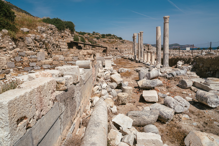 Ancient Ruins in the ancient city of Knidos. Landscape with ancient ruins