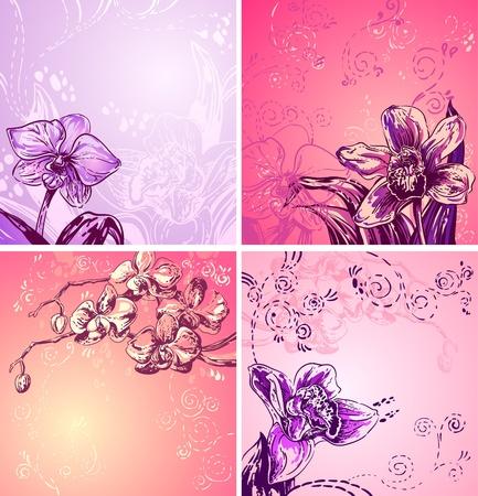 Illustration pour illustration with cute colorful orchids, space for text - image libre de droit
