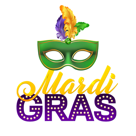 Mardi Gras Party Mask Poster. Calligraphy and Typography Card. Lights and Feathers. Holiday poster or placard template