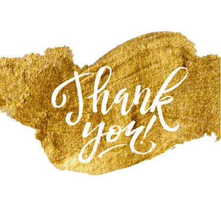 Illustration pour Shine Gold Foil Thank You Card. Calligraphy on White Background. Thank You Hand lettering handmade vector - image libre de droit