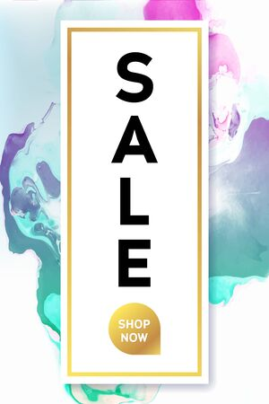 Sale. Black and Gold Banner Template with Marble Texture on White Background. Vertical Poster Design