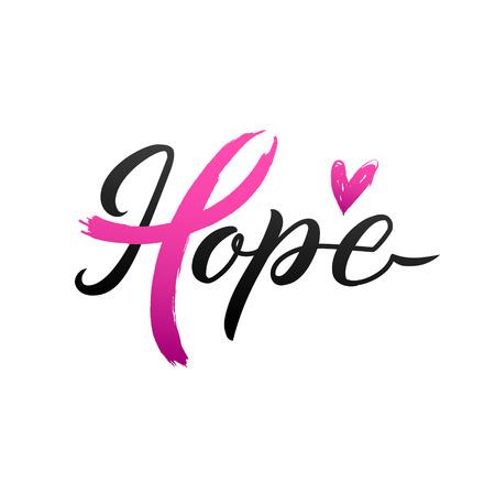 Illustration pour Vector Breast Cancer Awareness Calligraphy Poster Design. Stroke Pink Ribbon. October is Cancer Awareness Month. - image libre de droit