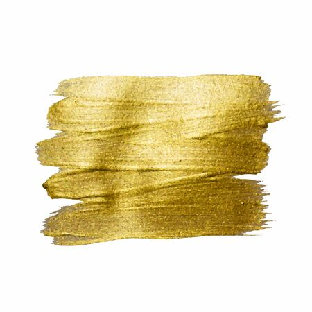 Illustration for Gold Texture Paint Stain Illustration. Hand drawn brush stroke design elements. Abstract gold glittering textured art illustration. - Royalty Free Image