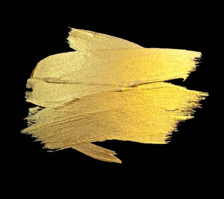 Illustration for Gold Watercolor Texture Paint Stain Abstract Illustration. Shining Brush Stroke for you Amazing Design Project. Black Background. - Royalty Free Image