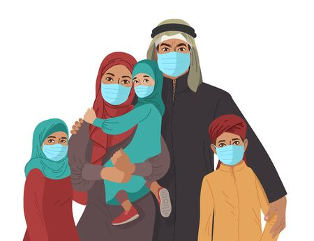 Illustration for Mother Father daughter and son wear medical masks. Virus and disease prevention. Middle Eastern Arab Muslim Persons. Vector Family illustration. - Royalty Free Image