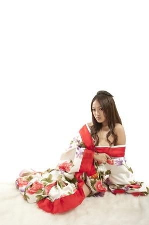 sexy asian woman in red Kimono