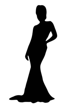 Elegant sexy lady silhouette, isolated