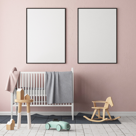 Foto de Mock up poster in the children's room. Children's room in Scandinavian style. 3d illustration. - Imagen libre de derechos