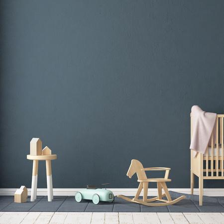 Photo pour Children's room in Scandinavian style. 3d illustration. - image libre de droit