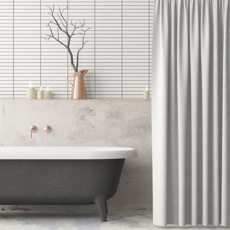 Photo pour Mock up the bathroom in vintage style. Trend color. 3d. - image libre de droit