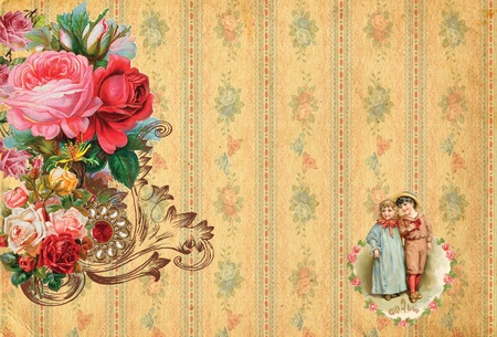 romantic  vintage retro background with roses