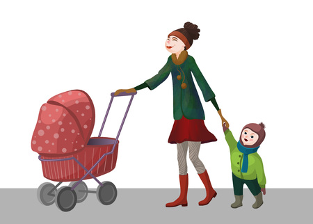 Illustration for mother with children on walk vector - Royalty Free Image