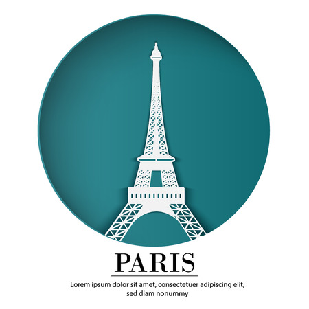 Illustration for PARIS city of France in digital craft paper art. Night scene. Travel and destination landmark concept. Papercraft banner style - Royalty Free Image