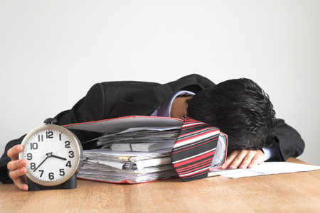 exhausted businessman working hard