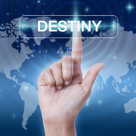 hand pressing destiny word button on virtual screen. business concept