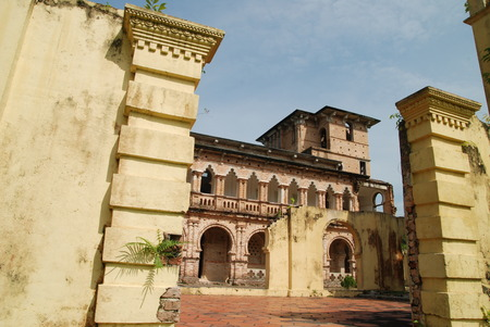 View of an old deconstructed building from British colonial Kelly Castle