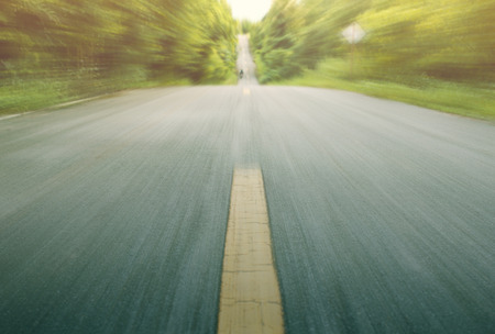 Road with motion blur in country road