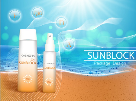 Illustration pour Vector illustration. 3d bottles with sun protection cosmetic products on tropic beach. Sunblock cream and tanning oil spray bottle. Template, for magazine or ads, brochure, flyer, banner. - image libre de droit