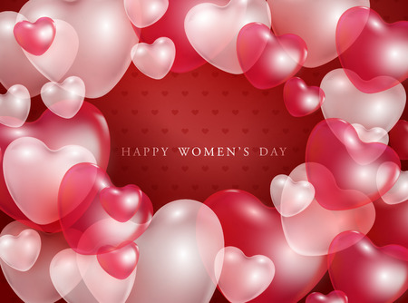 Illustration for Happy Women's day gift card with red and pink 3d heart shapes transparent balloons - vector illustration of romantic. Beautiful love festive poster for 8 march. - Royalty Free Image