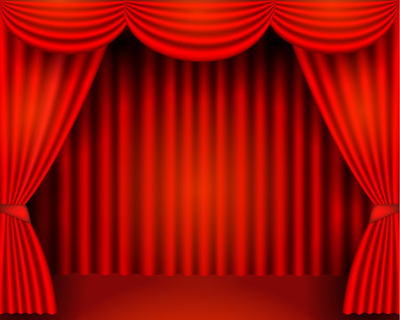 Illustration for The red curtains are the porters of the theater stage, vector stock illustration - Royalty Free Image