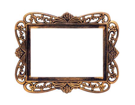 Photo pour Empty photo frame isolated on white, old bronze texture, plant-flower ornament. - image libre de droit