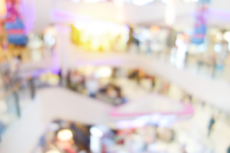 Abstract blur shopping mall background. Blur People in motion in escalators at the modern shopping mall.