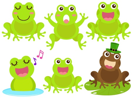 A colorful Theme of cute Icons : Frog in the pond