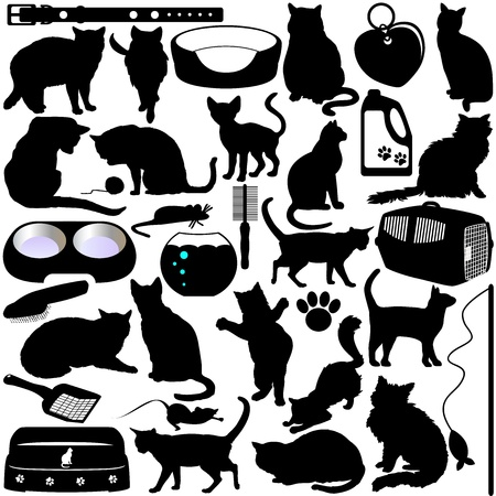 Silhouettes of Cats, Kittens and Accessories