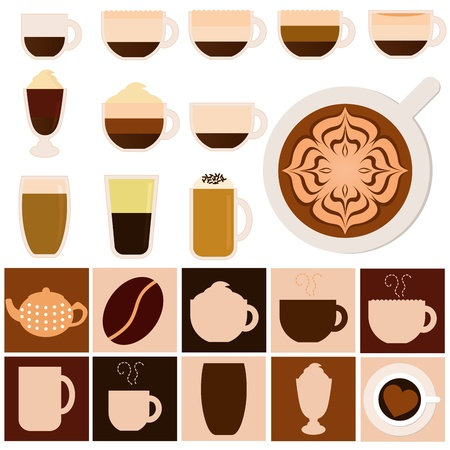 A set of Hot Beverages - Coffee, Tea, Chocolate
