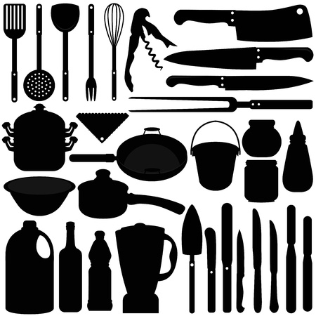 A silhouettes collection of Baking, Cooking Tools