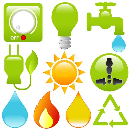 Icons: Energy Saving, water, electricity, solar power