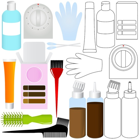 A Vector Silhouette/Outline of Hair Coloring Kit products