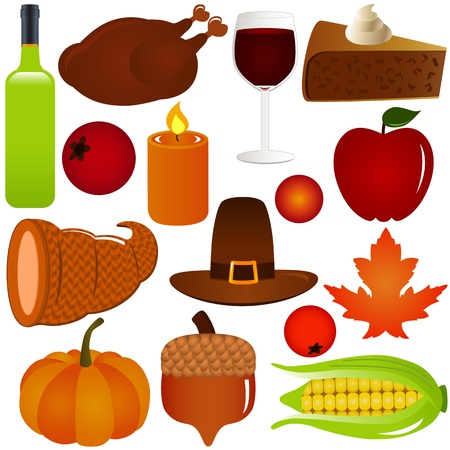 thanksgiving fall season vector icons isolated on white royalty