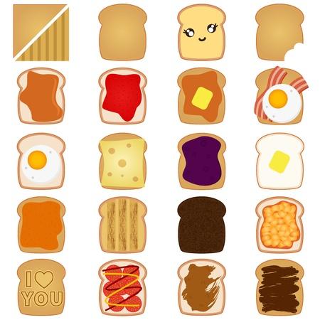 Vektor für A vector of Sliced White / Brown bread toast with jam, egg - Lizenzfreies Bild