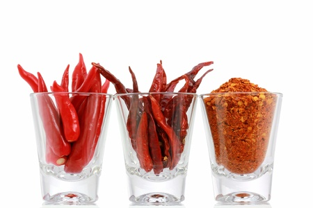 Three versions of Red Pepper   Fresh Chili, Dried Chili and Chili Powder in a glass, isolated on white background